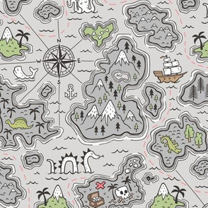 Pirate Adventure Nautical Map with Mountains, Ships, Compass, Trees & Waves on Grey