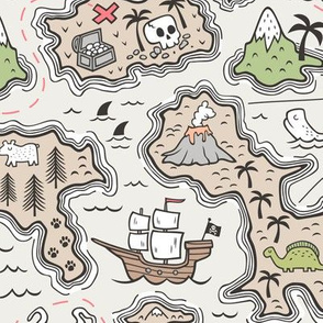 Pirate Adventure Nautical Map with Mountains, Ships, Compass, Trees & Waves Large Size