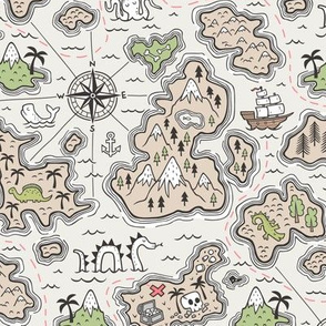 Pirate Adventure Nautical Map with Mountains, Ships, Compass, Trees & Waves