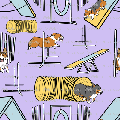 Simple Pembroke Welsh Corgi agility dogs - purple