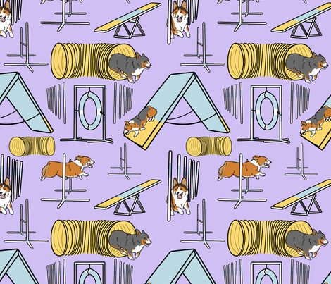 Simple Pembroke Welsh Corgi agility dogs - purple fabric by rusticcorgi on Spoonflower - custom fabric