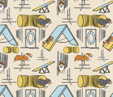 Simple Pembroke Welsh Corgi agility dogs - tan fabric by rusticcorgi on Spoonflower - custom fabric