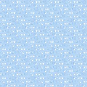 Simple Dog Agility equipment - tiny white sillhouette border blue