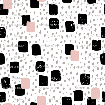 Abstract geometric squares and dots sweet speckles and dashes black white and pastel pink