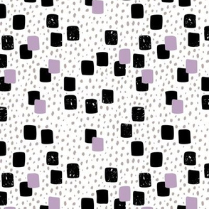 Abstract geometric squares and dots sweet speckles and dashes black white and violet