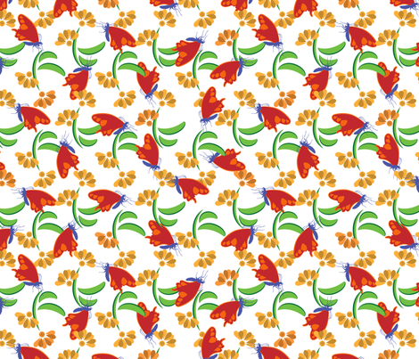 Bohemian Butterfly Floral on White fabric by anderson_designs on Spoonflower - custom fabric