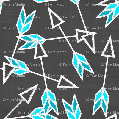Turquoise Arrows on Linen