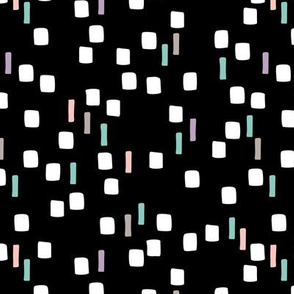 Abstract geometric squares and dots sweet speckles and dashes black white and blue