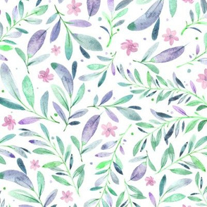Watercolor Flowers & Branches in Green, Teal, Purple and Blue, SCALE C