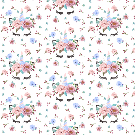 Blush Unicorn White Small fabric by lil'faye on Spoonflower - custom fabric