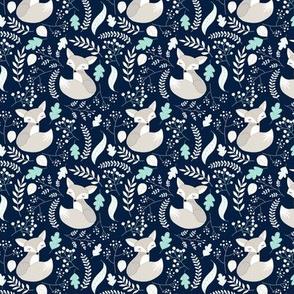SMALLER Fox - Sleepy Gray Foxes (navy, mint leaves) Baby Nursery Woodland Animals Kids Childrens Bedding N4