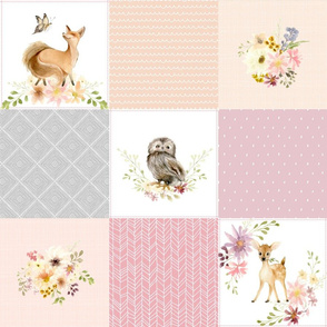 Girls Woodland Quilt Panel - Baby Blanket, Bear Fox Deer Owl - Pastel Pink Blush + Gray - MIA Pattern