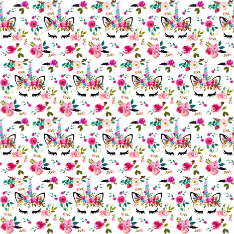 "1.25"" boho unicorns white small fabric by amelierainfall on Spoonflower - custom fabric"