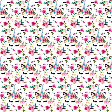 "1.25"" boho unicorns white small fabric by lil'faye on Spoonflower - custom fabric"