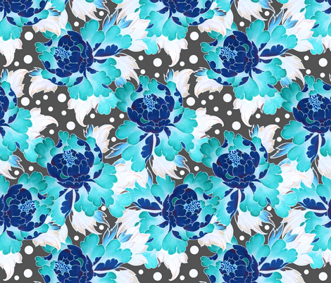 Retro peonies fabric by whimzwhirled on Spoonflower - custom fabric