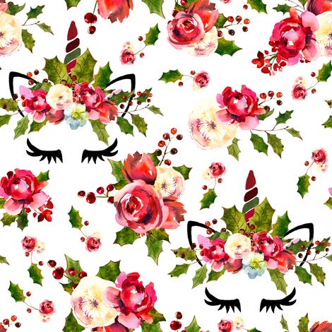 "3.5"" christmas Unicorns  fabric by lil'faye on Spoonflower - custom fabric"