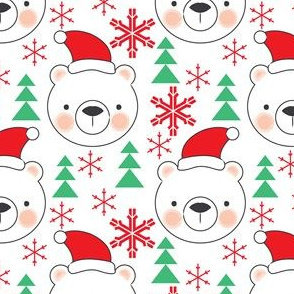 bear-faces-with-santa-hats-trees-snowflakes