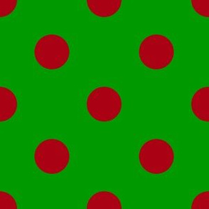 One Inch Dark Red Polka Dots on Christmas Green