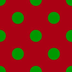 One Inch Christmas Green Polka Dots on Dark Red