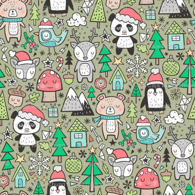 Christmas Holidays Animals Doodle with Panda, Deer, Bear, Penguin and Trees on Olive Green