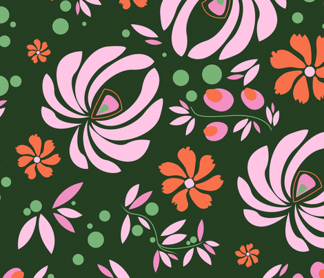 Pink_orange_Floral_Repeat fabric by lindseyjohnston on Spoonflower - custom fabric