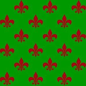 One Inch Dark Red Fleur-de-lis on Christmas Green