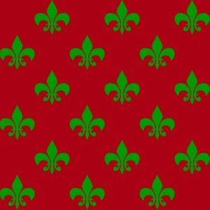One Inch Christmas Green Fleur-de-lis on dark Red