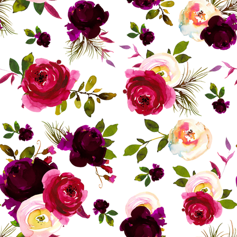 Wine Florals fabric by lil'faye on Spoonflower - custom fabric