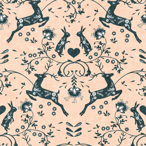 Romantik Damask  (peach/navy  linen)