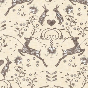 Romantik Damask (cream linen)