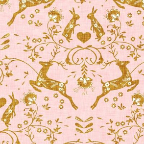 Romantik Damask (blush/gold linen)