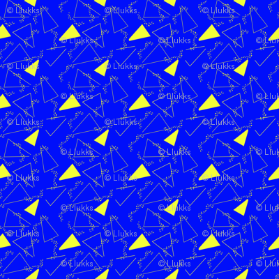Memphis Style Triangles Yellow on Blue Upholstery Fabr