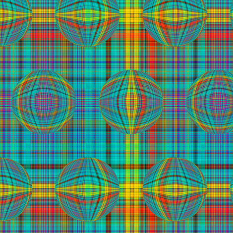 BUBBLE PLAID TURQUOISE EMERALD fabric by paysmage on Spoonflower - custom fabric