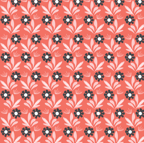 Romantik Daisy  (melon) fabric by nouveau_bohemian on Spoonflower - custom fabric