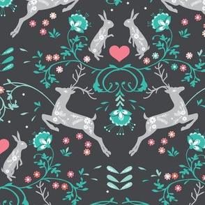 Romantik Damask (charcoal/aqua)