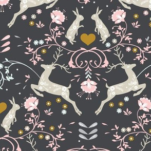 Romantik Damask  (charcoal/pink)