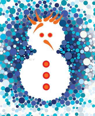 Snowman winter blue