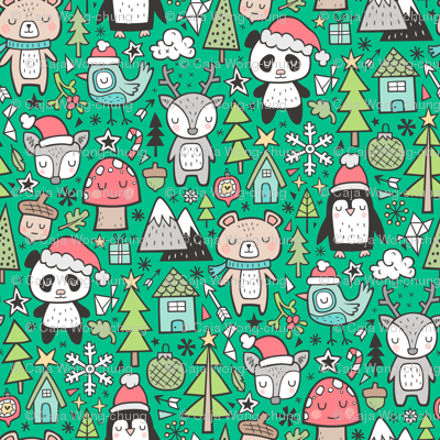 Christmas Holidays Animals Doodle with Panda, Deer, Bear, Penguin and Trees on Green
