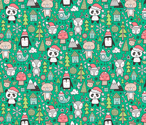 Christmas Holidays Animals Doodle with Panda, Deer, Bear, Penguin and Trees on Green fabric by caja_design on Spoonflower - custom fabric