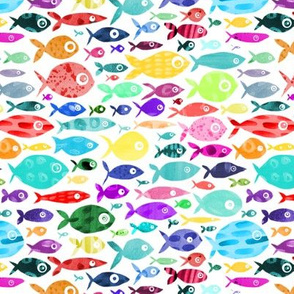 Rainbow Fish - white background