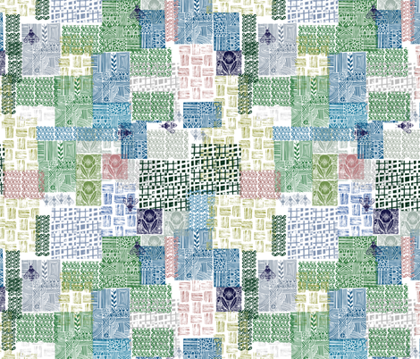 Bohemian Patchwork cheater quilt // block printed fabric by ruth_robson on Spoonflower - custom fabric