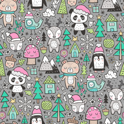 Christmas Holidays Animals Doodle with Panda, Deer, Bear, Penguin and Trees Pink on Grey