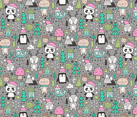 Christmas Holidays Animals Doodle with Panda, Deer, Bear, Penguin and Trees Pink on Grey fabric by caja_design on Spoonflower - custom fabric