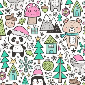 Christmas Holidays Animals Doodle with Panda, Deer, Bear, Penguin and Trees on Pink on White