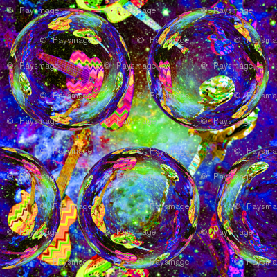 SPACE GUITAR BIG SOAP BUBBLES PURPLE YELLOW