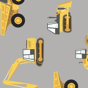 (large) construction trucks - yellow on grey