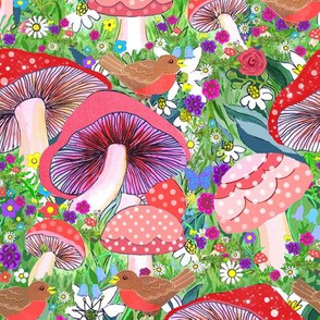 Scandinavian Woodland robin and flowers //  // red robins // robin // forest // birds and toadstool forest