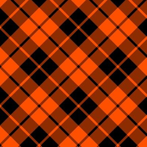 deep orange and black diagonal tartan