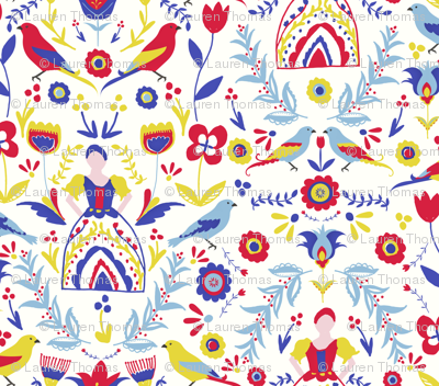 Folk maid fabric laurenthomasdesigns spoonflower for Retro space fabric uk