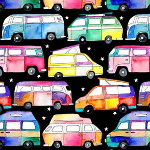 Watercolour Campervans - black background